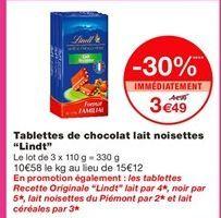 """Tablettes de chocolat lait noisettes """"Lindt"""" offre à 4.99€"""