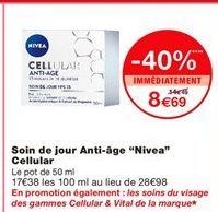 """Soin de jour anti-âge """"Nivea"""" cellular offre à 14.49€"""