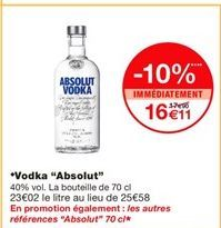 "Vodka ""Absolut"" offre à 17.9€"