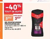 Gel de douche homme provocation axe offre à 3.27€