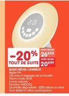 Radio réveil lumineux offre à 20.99€