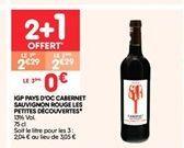 IGP pays d´oc cavernet sauvignon rouge les pepites découvertes offre à 2.29€