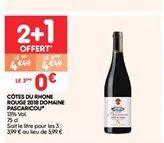 Côtes du rhone rouge 2018 domaine pascaricou offre à 4.49€