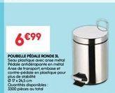 Poubelle pédale ronde 3L offre à 6.99€