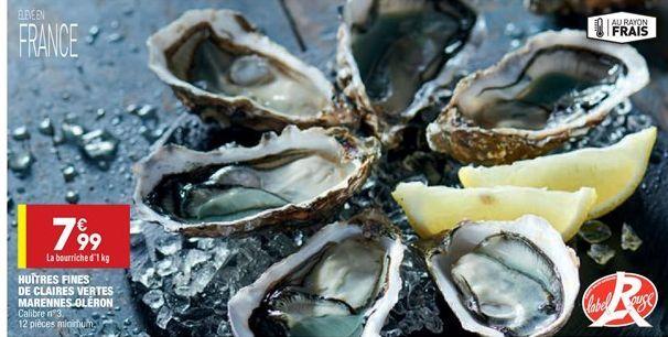 Huîtres fines de claires vertes marennes oléron offre à 7.99€
