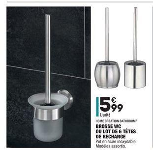 Brosse wc ou lot de 6 têtes de rechange offre à 5.99€