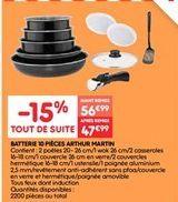 Batterie 10 piéces Arthur Martin offre à 47.99€