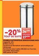 Poubelle automatique sensor ronde inox offre à 27.99€