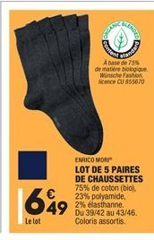 Lot de 5 Paires de Chaussettes offre à 6.49€