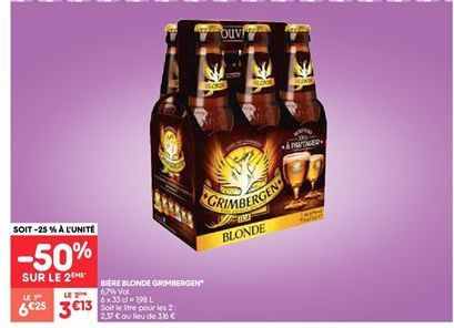 Bière blonde Grimbergen offre à 3.13€