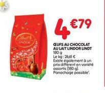 Oeuf au chocolat au lait  Lindor offre à 4,79€