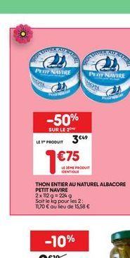 Thon entier au naturel albacore  offre à 3.49€