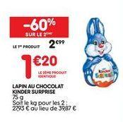 Lapin au chocolat surprise  offre à 2,99€