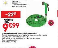 Tuyau extensible boomerang 9m+pistolet offre à 9,99€