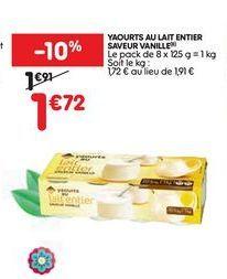 Yaourt au lait entier saveur vanille offre à 1,72€