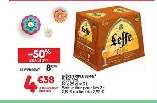 Bière triple Leffe offre à 8,75€