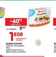 Kinder country offre à 2,69€