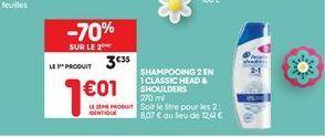 Shampoing 2 en 1 classic offre à 3,35€