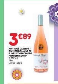 AOP rosé cabernet d´anjou domaine de flines symphonie de printemps 2018 offre à 3,89€