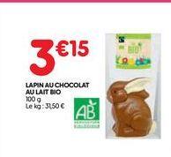 Lapin au chocolat au lait bio offre à 3,15€