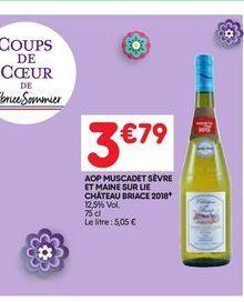 Aop muscadet sévre et maine sur lie château briace 2018 offre à 3,79€