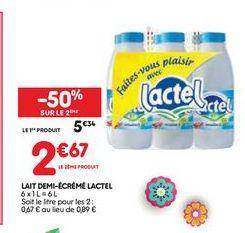 Lait demi-écrémé Lactel offre à 5,34€