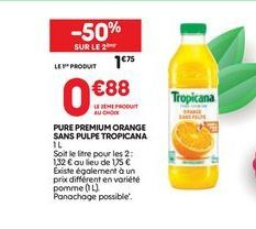 Pure premium orange sans pulpe tropicana offre à 1,75€
