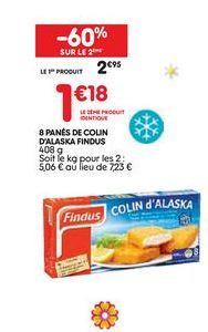 8 panés de colin d´alaska findus offre à 2.95€