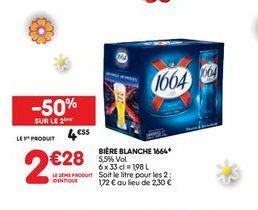Bière blanche 1664  offre à 4,55€