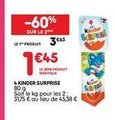 4 kinder surprise  offre à 3,63€