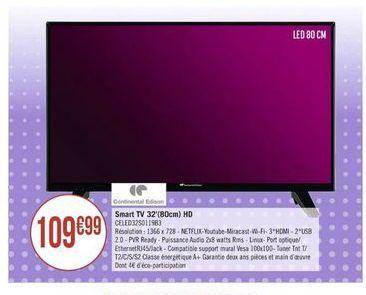 Smart tv led 32'' offre à