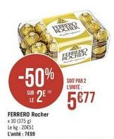 Chocolat Ferrero Rocher offre à