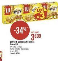 Barres 5 céréales Noisettes Grany Lu offre à