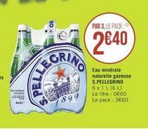 Eau minerale naturelle gasseuse San Pellegrino offre à