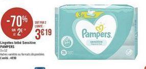 Lingettes bébés Sensitive Pampers offre à