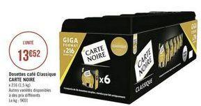 Dosettes Cafè Carte noire offre à
