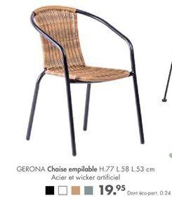 Chaise empilable offre à 19,95€