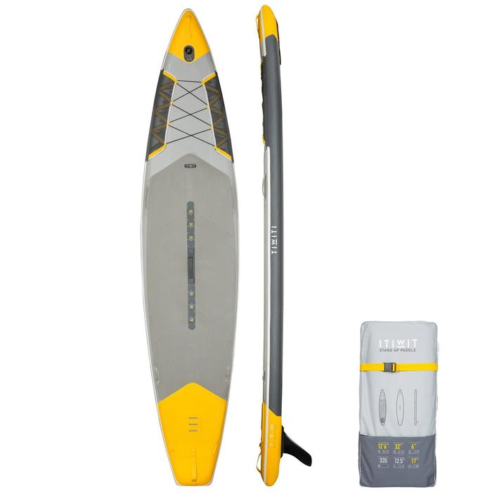 "STAND UP PADDLE GONFLABLE RANDONNEE 500 / 12'6-32"" JAUNE offre à 385€"