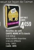 Capsules de café Carte noire offre à