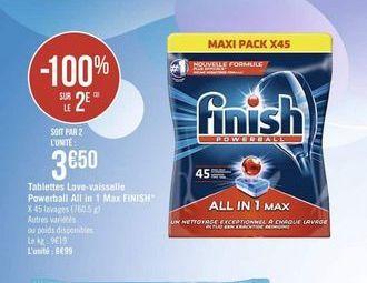 Lave-vaisselle Finish offre à