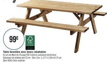 Table forestière avec bancs rabattables offre à