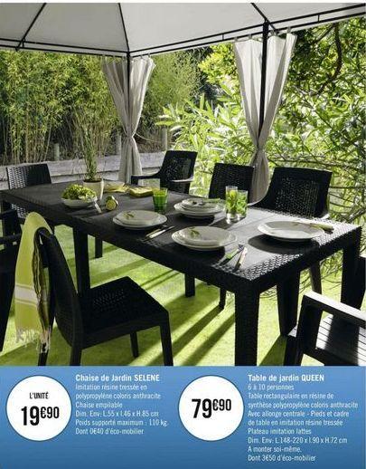 Chaise et table de jardin SELENE offre à