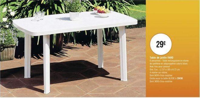 Table de jardin FARO offre à