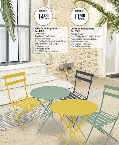 Table et chaise de jardin pliante Balcony offre à