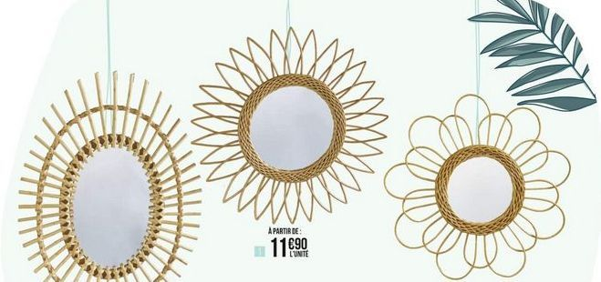 Miroir rotin fleur offre à