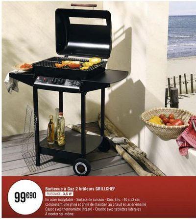 Barbecue à gaz 2 brûleurs GRILLCHEF offre à