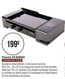 Plancha SO BURGER offre à