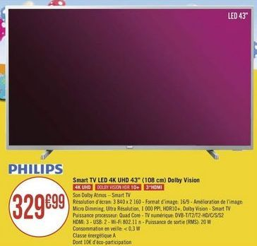 "Smart tv led 43"" Philips offre à"