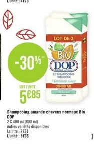 Shampoing Dop offre à