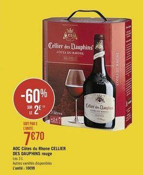 AOC Côtes du Rhone CELLIER DES DAUPHINS rouge offre à